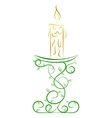 Doodle color abstract candle on a stand vector image vector image