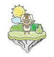 doodle nice dog animal in the float island vector image vector image