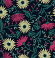 Embroidery floral seamless pattern on navy vector image vector image