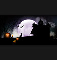 halloween pumpkins and dark house vector image vector image