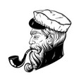 hand drawn captain with pipe tattoo artwork in vector image vector image