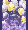 happy anniversary card with balloons festive vector image vector image