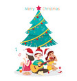 happy children sitting under christmas tree vector image vector image