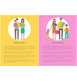 happy family people parents and children with pet vector image vector image