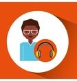 headphones music cartoon guy glasses vector image vector image