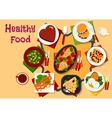 Healthy breakfast dishes icon for festive menu vector image vector image