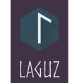 Laguz rune of Elder Futhark in trend flat style vector image