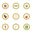 landmarks of brazil icons set cartoon style vector image vector image