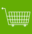 large empty supermarket cart icon green vector image vector image