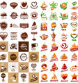 large set of logos hot drinks and desserts vector image vector image