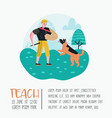 man training dog in the park dog poster banner vector image vector image