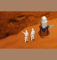 mars colonization isometric poster vector image