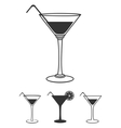 Martini glasses flat icons set isolated on white vector image