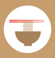 noodles bowl with chopsticks stylish banner for vector image