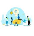 office people work together set up huge light bulb vector image vector image