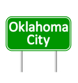 Oklahoma City green road sign vector image vector image