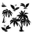 Palm trees flowers and grass silhouettes vector | Price: 1 Credit (USD $1)