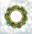 Paper Card with Christmas Wreath and Balls vector image
