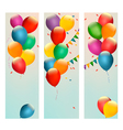 Retro holiday banners with colorful balloons and vector image vector image