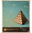 retro infographic template pyramid vector image vector image