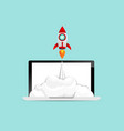 rocket startup launch from laptop business concept vector image vector image