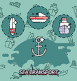 sea transport flat concept icons vector image vector image