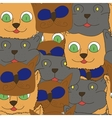 seamless texture of cat head cartoon vector image vector image