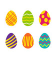 set of easter eggs with different texture on a vector image vector image