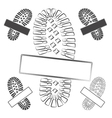 Set of logos with footprints of shoes isolated vector image vector image