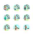 set of multicolor entertainment icons vector image