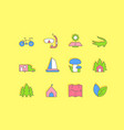 set simple line icons ecotourism vector image vector image