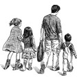 sketch a father with his kids going on a stroll vector image vector image