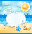 summer landscape with vintage blank label vector image