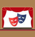 theater masks on the theater stage with an open vector image