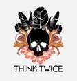 think twice hand drawn human vector image