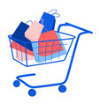trolley with purchase buy paper bags summer sale vector image vector image