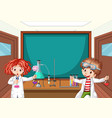 two science students working in lab at school vector image