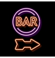Vintage neon sign with an indication of the bar vector image vector image