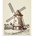 Windmill mill or bakery Vintage hand drawn vector image