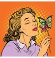 Woman and butterfly money the concept of charity vector image vector image