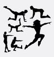 woman training sport silhouette vector image vector image