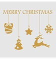 Christmas objects hanging line gold isolated vector image
