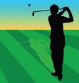 golfer black on green grass vector image