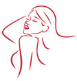 Beautiful Sexy Woman Line Art vector image