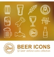 beer outline icons vector image vector image