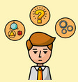 businessman portrait character learn question vector image