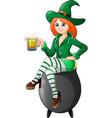 cartoon woman leprechaun sitting on the pot with h vector image vector image