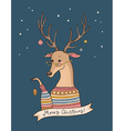 christmas deer night vector image vector image