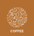 coffee house logo concept in mono line style vector image