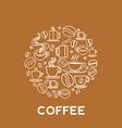 coffee house logo concept in mono line style vector image vector image